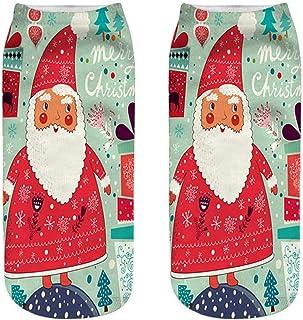 Calcetines Tobilleros 3D Moda Santa Claus Impresión Calcetines Unisex Mujeres Hombres Novedad Estilo Adulto Muñeco De Nieve Impresión Niño Calcetines