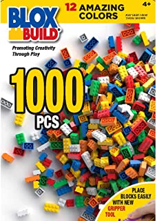 Build 'N Blox 1000 Piece Building Bricks Set- 12 Classic Colors Guaranteed Tight Fit, Compatible with All Major Brands
