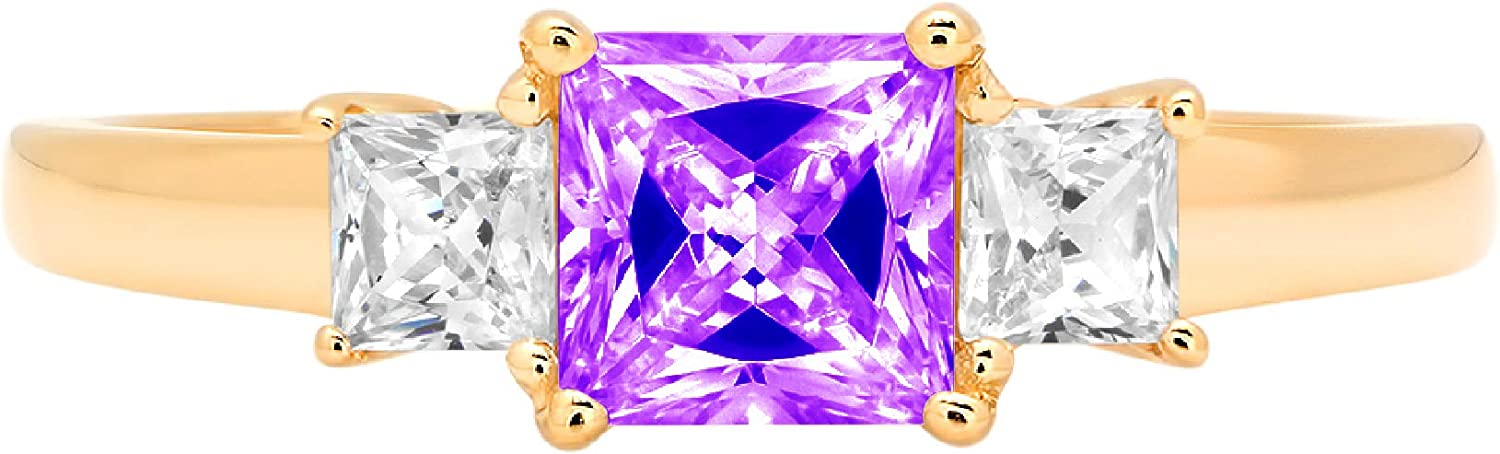 0.89ct Princess cut 3 stone Solitaire with Accent Natural Purple Amethyst Gem Stone Ideal VVS1 Engagement Promise Statement Anniversary Bridal Wedding ring Solid 14k Yellow Gold