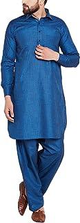 Sojanya Men's Cotton Linen Blend Pathani Kurta Salwar