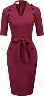 GRACE KARIN Women Vintage Short Sleeve Slim Fit Belted Business Pencil Dress