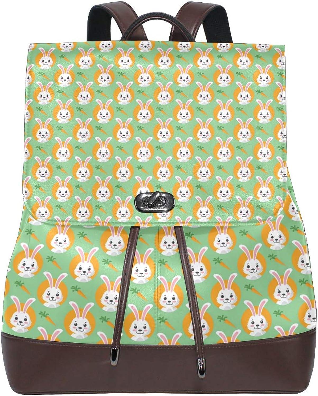 Leather Cute Easter Bunnies Wth Carreds Green Backpack Daypack Elegant Ladies Travel Bag Women Men