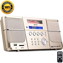DPNAO Multi Portable Cd Player with FM Radio Clock Alarm USB SD Aux Boombox Wall Mountable for Home