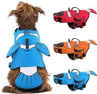 DENTRUN Dog Life Jacket Safety Vests for Swimming, Adjustable Puppy Pool Lake Floats Coat High Visibility Superior Floatat...