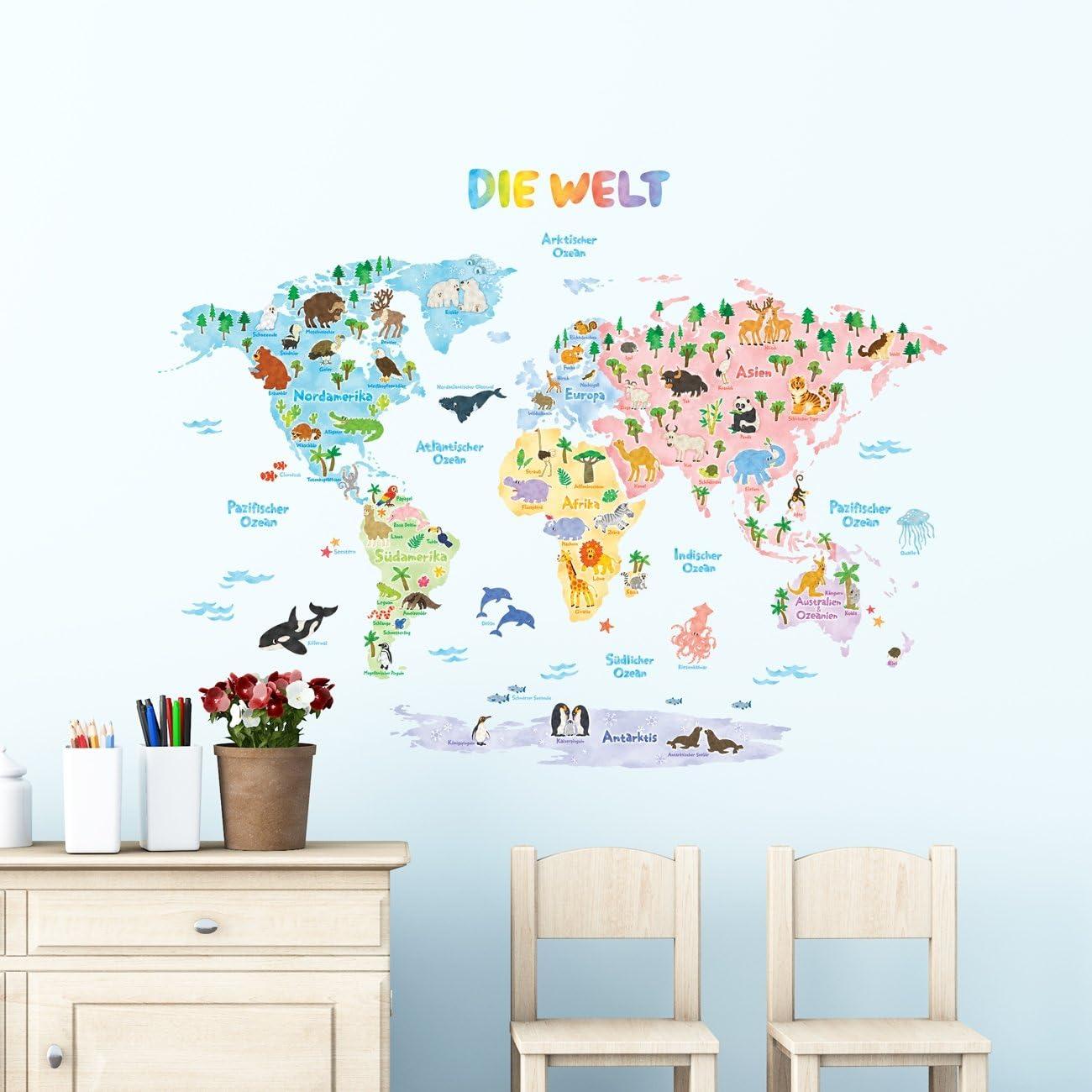 DECOWALL DAT-1615SDE Tedesco Mappa del Mondo Animali Adesivi da Parete Decorazioni Parete Stickers Murali Soggiorno Asilo Nido Camera da Letto per Bambini Grande