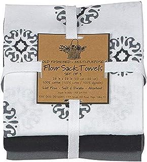 مناشف Caf Express Collection Medallion Flour Sack القطنية من Kay Dee Designs مقاس 66.04 سم × 66.04 سم، فحمي، مجموعة من 3 (...