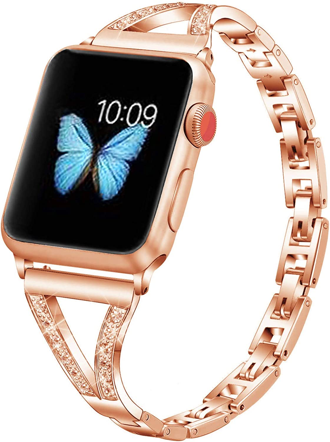 Bling Bands Compatible with Apple Watch Band 38mm 40mm 42mm 44mm,Women Stainless Steel Metal Band Dressy Wristbands Strap Replacement for iWatch Series 6 5 4 3 2 1 SE
