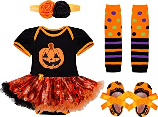 72a89d94fba6c Freebily 4 Pcs Ensemble Costume Bébé Enfant Fille Déguisement Halloween Fête  Barboteuse + Bandeau + Jambières