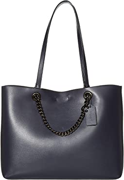 코치 토트백 COACH Signature Chain Convertible Tote,Midnight Navy/Pewter