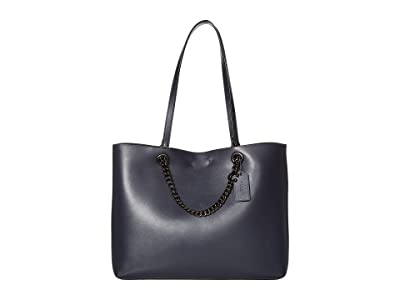 COACH Signature Chain Convertible Tote (Midnight Navy/Pewter) Handbags