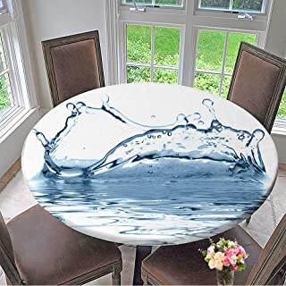 "Mikihome Premium Tablecloth Sparks of Blue Water on a White Background Everyday Use 55""-59"" Round (Elastic Edge)"
