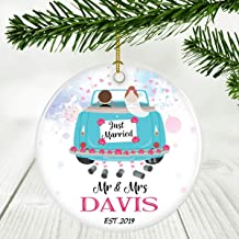 Our First Christmas as Mr & Mrs Ornament 2019 Adorable Newlywed - Ornament Just Married Mr And Mrs Davis EST.2019 - Keepsake Present Gifts for Engagement and Wedding Ornament 3 Inches