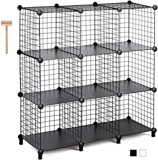 Best TomCare Cube Storage 9-Cube Metal Wire Cube Storage Storage Cubes Shelves Cube Closet Organizer Stackable Storage Bins DIY Storage Grids Modular Wire Cubes Bookshelf Bookcase for Home Office, Black Review