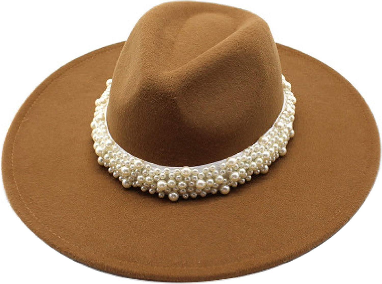 ASO-SLING 9.5cm Big Large Brim Fedora Hats Men Women Jazz Hats Winter Autumn Pearl Belt Elegant Felt Hats for Church Wedding