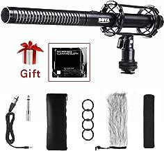 XLR Shotgun Microphone, BOYA Pro Condenser Shotgun Mic 3 Pin XLR Output with Foam Windscreen & Shock Mount for Canon Nikon DSLRS Camcorder Video Interview Broadcast Outdoor Recording Micro Film