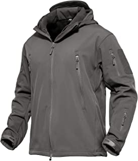 MAGCOMSEN Men's Hooded Tactical Jacket Water Resistant Soft Shell Snow Ski Winter Coats