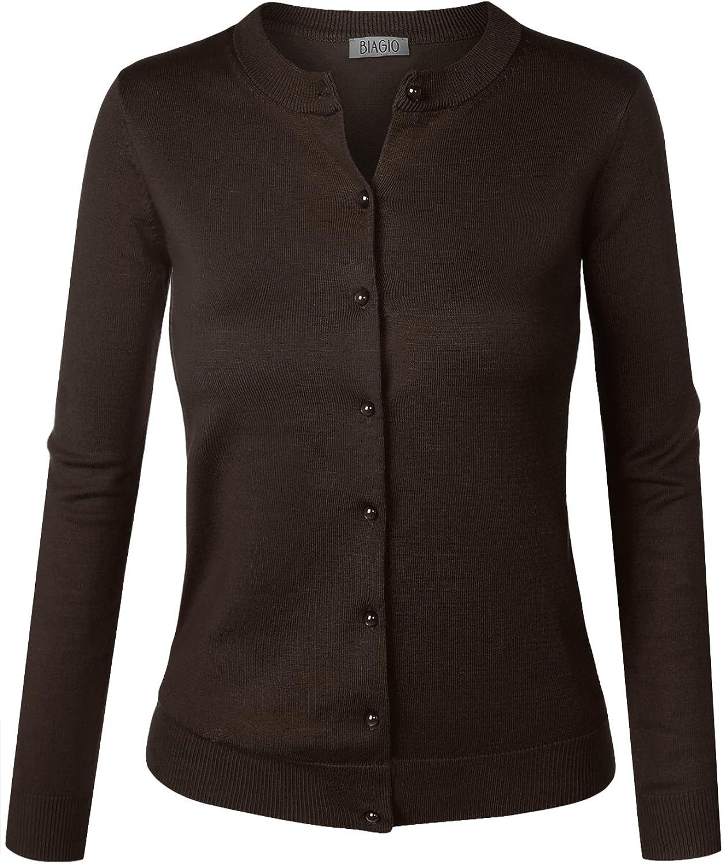BIADANI Women Pearl Button Down Long Sleeve Soft Knit Cardigan Sweater Brown X-Large