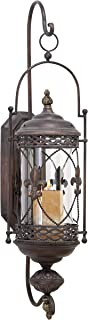 Deco 79 Old World Metal and Glass Floral Candle Sconce, 30