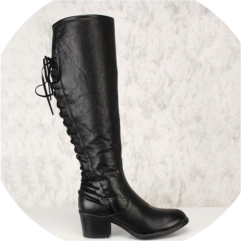 Women Platform Mid Calf Boots Thick High Heels Female Cross Tied Zipper Clog shoes