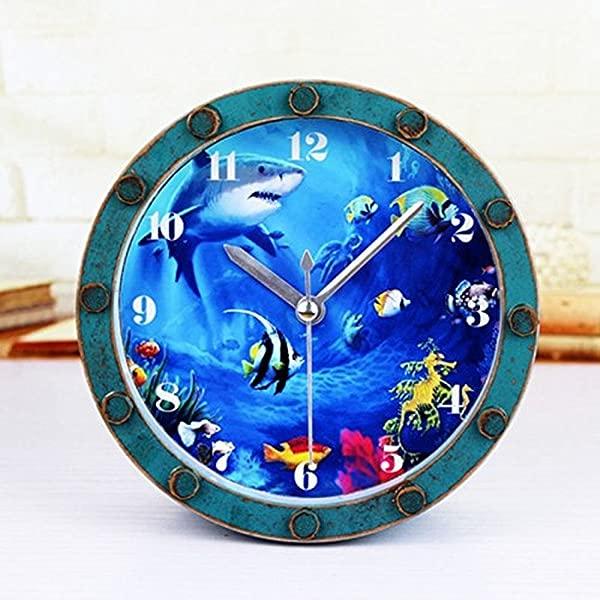 Gusnilo 5 Beside Alarm Clock Shark Fishes Ocean Roman Numerals Vintage Wooden Pattern Silent Non Ticking Quartz Desk Clock Round Table Clock 3D Clock