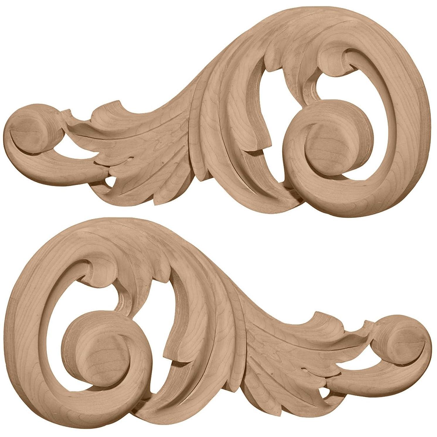 Ekena Millwork ONL07X03X01SWLW Each Side Small Swaying Scrolls Pair, 7 1/8-Inch x 3 1/8-Inch x 5/8-Inch, Lindenwood