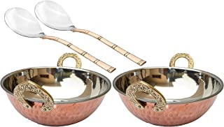 BONA FIDE Pure Copper, Stainless Steel Bowls with Solid Brass Handle Serveware Accessories Karahi Pan for Indian Food, small Diameter- 5 Inches small with 2 serving spoons