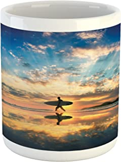 Ambesonne Ride the Wave Mug, Surfer Walking Before Horizon with Cloudy Sky Coastal Charm Image, Ceramic Coffee Mug Cup for Water Tea Drinks, 11 oz, Blue Tan