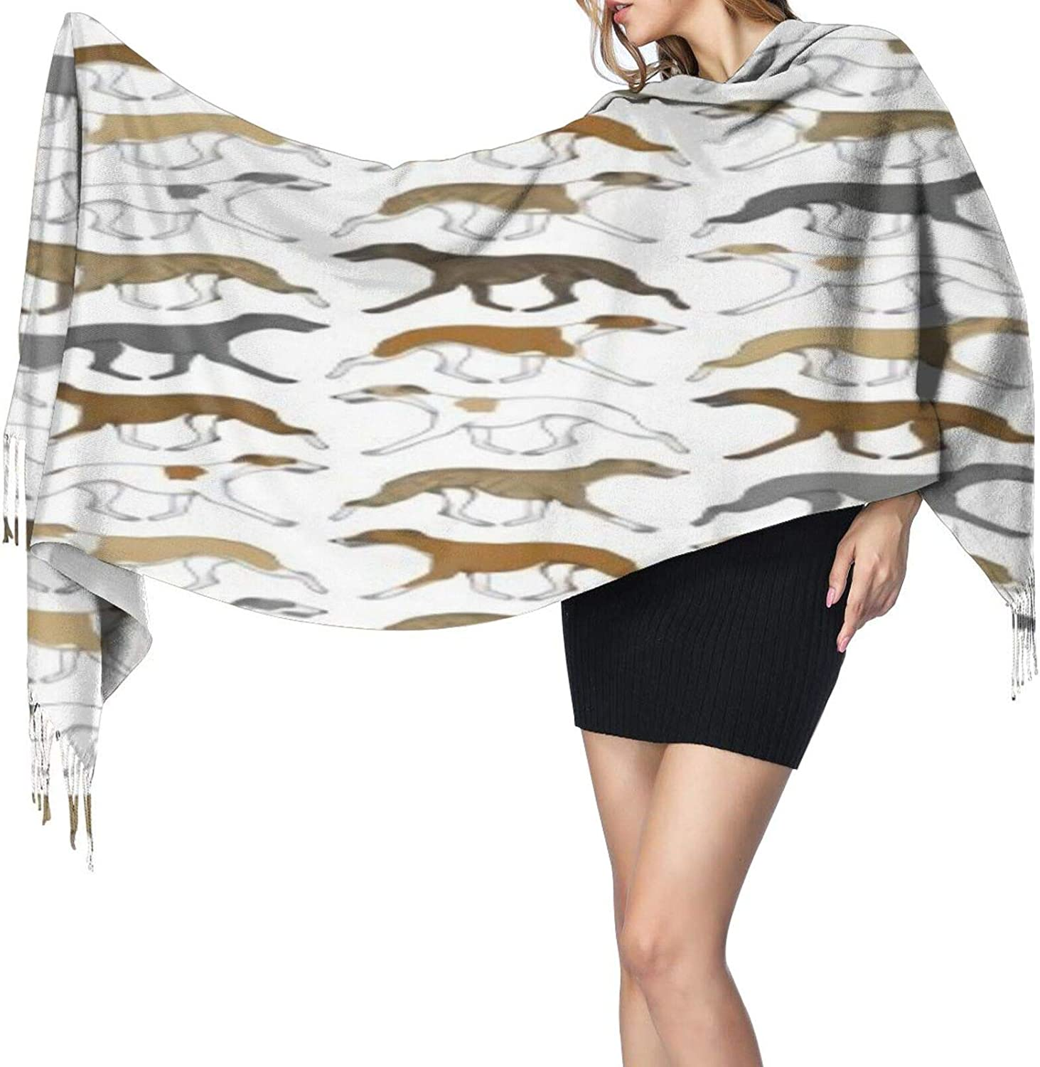 Cashmere fringed scarf Trotting Whippet winter extra large scarf