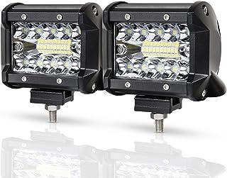 RACBOX 60W LED作業灯 12V 24V 広角タイプ LEDワークライト コンパクト フォグランプ 8000LM デッキライト 防水 トラック 除雪機 重機 船舶 各種作業車対応 二個セット 1年保証 (60W作業灯)