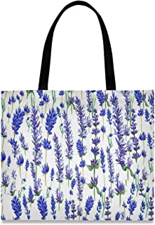 visesunny visesunny Große Damen-Einkaufstasche aus Segeltuch mit lila Lavendelblüte, Aufbewahrungsgriff, Einkaufstasche, lässig, wiederverwendbar, für Strand, Reisen, Lebensmittel, Bücher