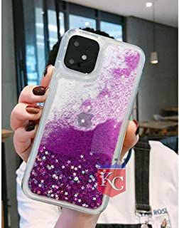 KC Slim Bling Liquid Glitter Soft Transparent Silicon Back Cover for iPhone 11 (Purple)