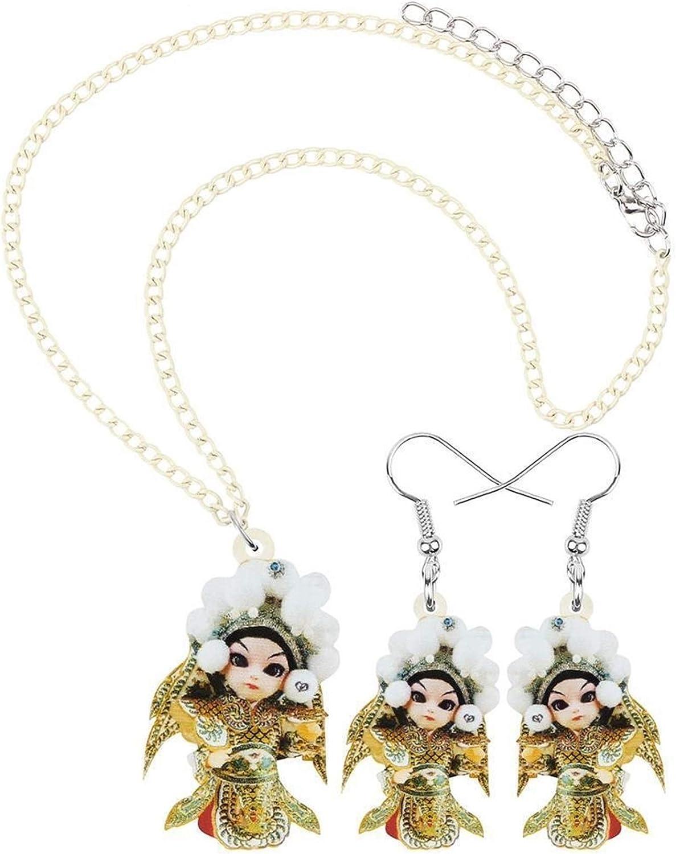 Uongfi Seattle Mall Acrylic Character Jewelry Set Neckla High quality new Long Earrings Ladies