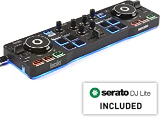 Hercules DJControl Starlight | Pocket USB DJ Controller with Serato DJ Lite, touch-sensitive jog wheels, built-in sound card and built-in light show