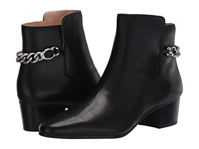 COACH Carissa C Chain Bootie (Black Leather) Women