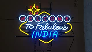 Neon princess Factory 24x20 inches Welcome to Fabulous India Real Glass Tube Neon Light Home Beer Bar Pub Recreation Room Game Lights Windows Signs