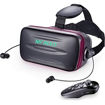 2021最新 vrゴーグル スマホ アンチブルーレンズ 高音質ヘッドホン付き 3d スマホ vr ゲーム 映画 動画 調節可 4.7~6.5インチスマホ めがねメガネ 眼鏡対応iphone android ワンクリック受話 スマホVR 近視/遠視適用 120°視野角 放熱性よい Bluetoothリモコン&日本語取扱説明書 付属「技適認証済」 2021最新 携帯 vrゴーグル dmm av