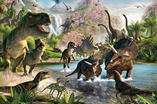 Qian Jurassic Park Photography Background 3D Dinosaur Photo Studio Props Booth Party Decoration Backdrops Vinyl 5x3FT ly022