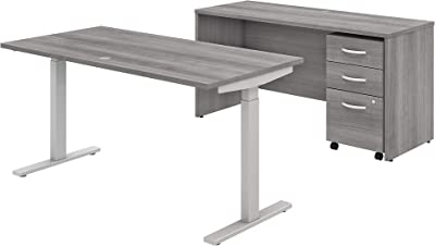 Bush Business Furniture Studio C Collection Height Adj Standing Desk, Credenza and Storage, Platinum Gray