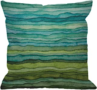 HGOD DESIGNS Watercolor Throw Pillow Cover,Stripped Watercolor Waves Bright Blue and Green Paint Brush Gradient Marine Sea Splash Decorative Pillow Cases Cushion Covers for Home Sofa Couch 18x18 inch