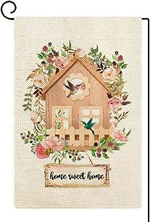 Baccessor Home Sweet Home Garden Flag Flowers Birdhouse طائر الطنان ساحة منزل العلم صغير الخيش عمودي مزدوج الجانب ريفي مزر...