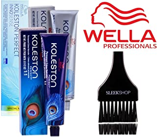 Wella KOLESTON Perfect Permanent Creme Haircolor, 2 oz (with Sleek Tint Brush) (7/17 Medium Blonde/Ash Brown)