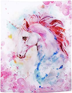 Pink Unicorn Tapestry Watercolor Print Wall Tapestry Hippie Art Tapestry Wall Hanging for Home Decor Bedroom Living Room Dorm Room