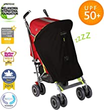 Stroller Sun Shade and Blackout Blind for Strollers (0-6m) | UPF50+ | Breathable and Universal fit | SnoozeShade Original - Best-Selling Safety Green Trim