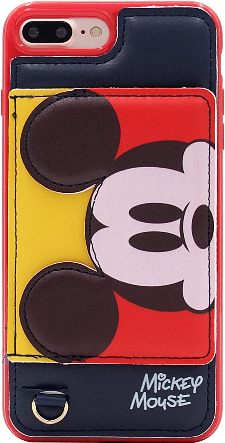 iPhone 7 Plus Case, iPhone 8 Plus Case, MC Fashion Cute [Cartoon Kickstand Series] with [Card Holder Stand] TPU + Leather Soft Protective Case for iPhone 7 Plus and iPhone 8 Plus (Mickey Mouse)