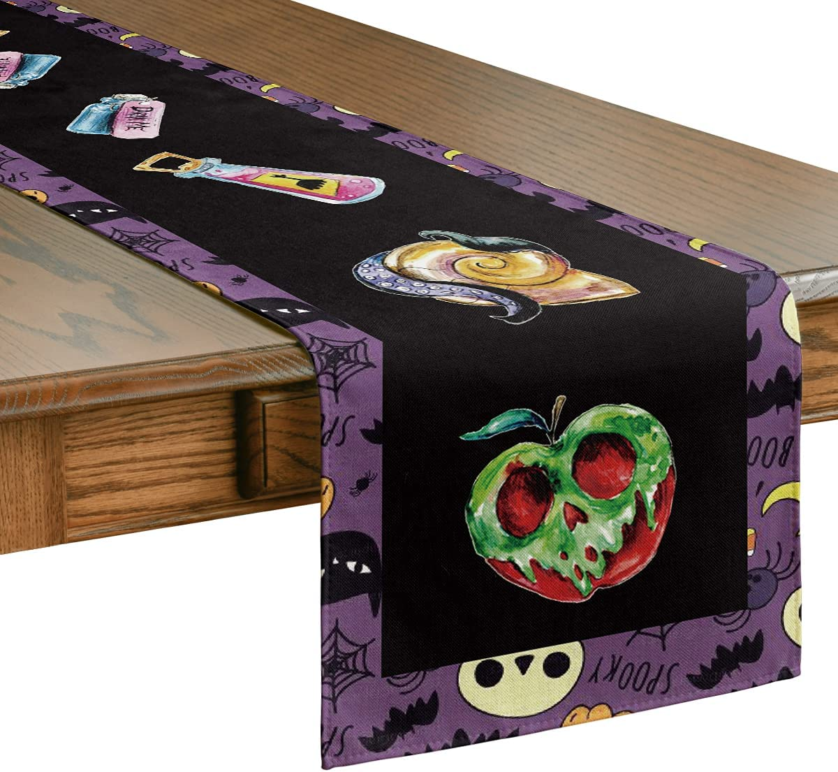 Artoid Mode Halloween Poison Apple Table Runner, Holiday Kitchen Dining Table Decoration for Indoor Outdoor Home Party Decor 13 x 72 Inch