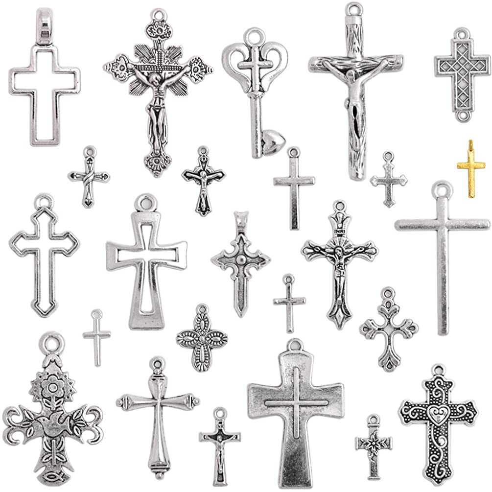 BronaGrand 25 Pieces Mixed Crosses Charms Pendants Jewelry Findings for Making Bracelet and Necklace,Antique Silver