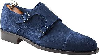 Handamade Italian Men's Shoes Monk Double Buckle Blake Rapid - Bespoke - Monsano