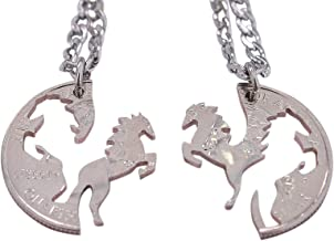 Marycrafts Hand Cut Coin Horse Necklace Couples Necklaces for 2