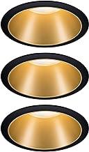 Paulmann 93404 LED-inbouwarmatuur Cole rond incl 3x6,5 watt dimbare inbouwspot zwart, goud mat Inbouwlamp kunststof, alumi...