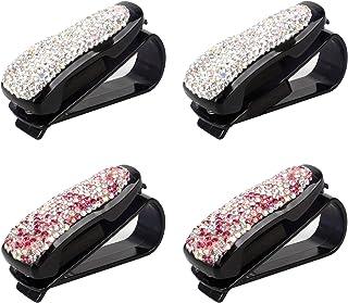 Jubaopen 4 STKS Bril Houders voor Auto Zonnebril Houder Clip Diamond Zonnebril Houder ABS Strass Met Ticket Card Clip (6.5...